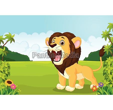 cartoon lion roaring illustration