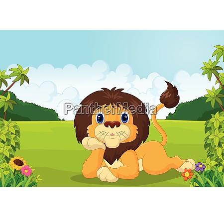 cartoon lion lie down
