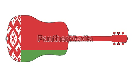 guitar silhouette with belarus national flag