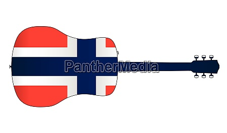 acoustic guitar silhouette with norwegian national