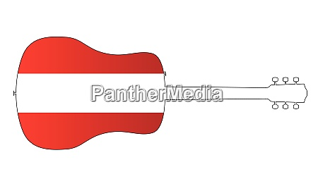acoustic guitar silhouette with austrian national