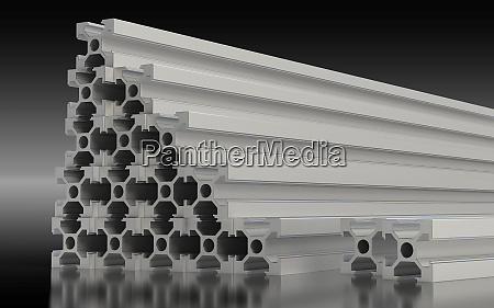 several aluminum profile