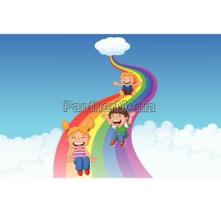 cartoon little kids playing slide rainbow