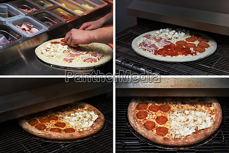 making pizza at kitchen of pizzeria