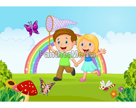 cartoon kids catching butterfly in the