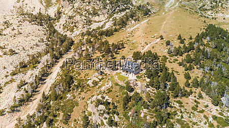 aerial view of isolated house at