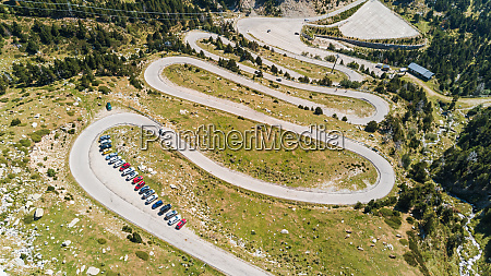 aerial view of zig zag road