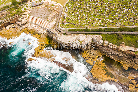 aerial view of waverley cemetery at