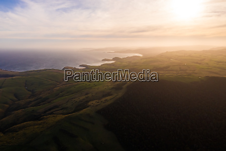 aerial view of scenic sunset over