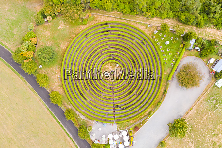 aerial view above gigantic maze at