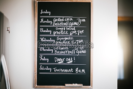 weeks meal and activity schedule written