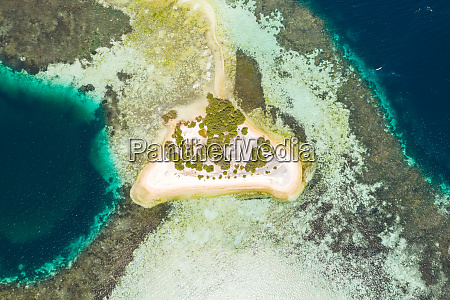 aerial view of isolated island formation