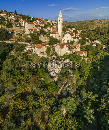 aerial view of traditional dalmatian village