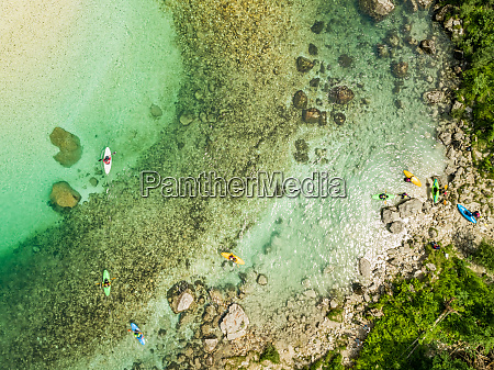 aerial view of kayaks at the