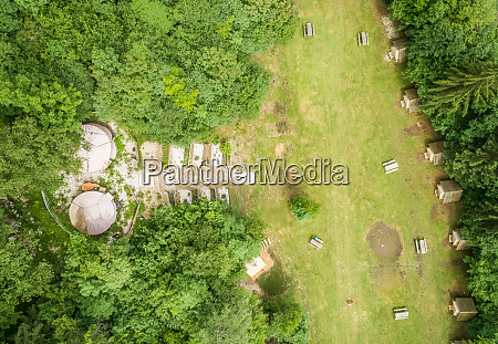 aerial view of eco camp in