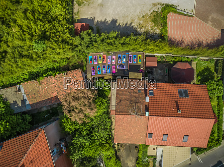 aerial view of people practicing yoga