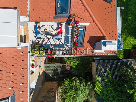 aerial view of couple having breakfast