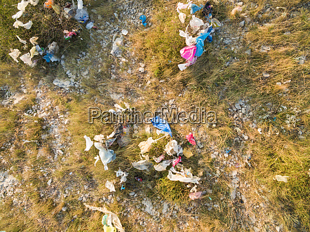 aerial view of plastic bags pollution