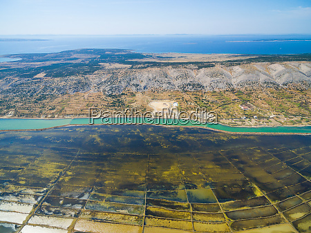 aerial view of saltern on pag