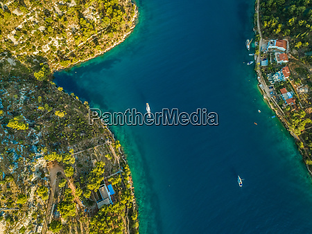 aerial view of yachts and houses