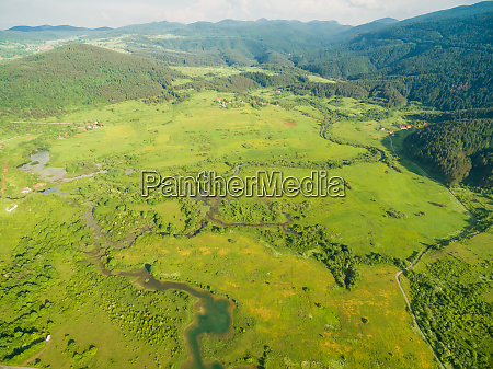 aerial view of jesenica river and