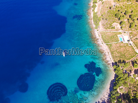 aerial view of the coast of