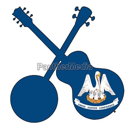 louisiana state flag banjo and guitar