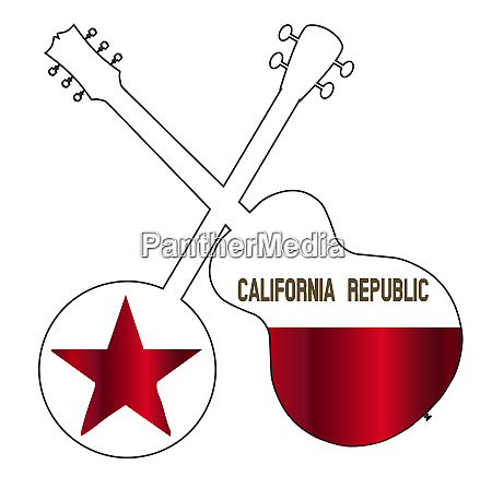 california state flag banjo and guitar
