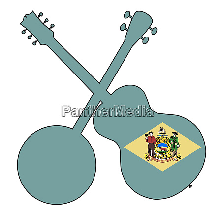 delaware state flag banjo and guitar