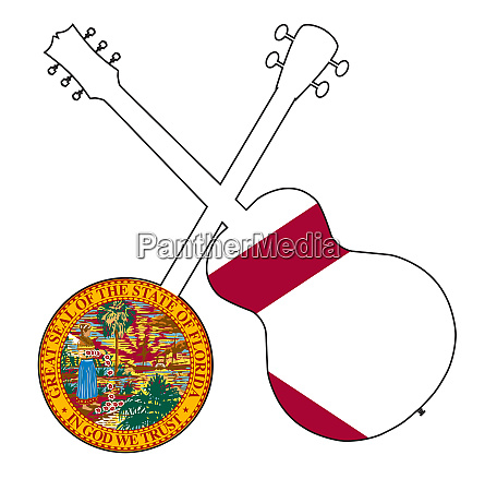 florida flag banjo and guitar silhouette