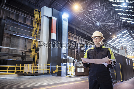 female worker with specialist large 3d