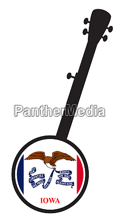 banjo silhouette with iowa state flag