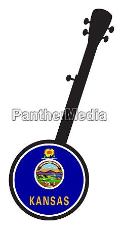 banjo silhouette with kansas state seal