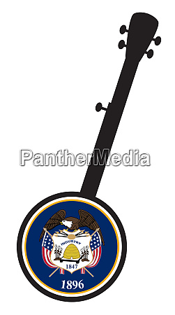 banjo silhouette with utah state seal