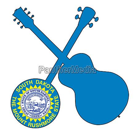 south dakota state flag banjo and