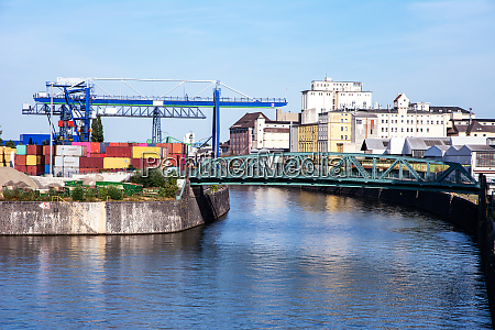industrial port in frankfurt at the
