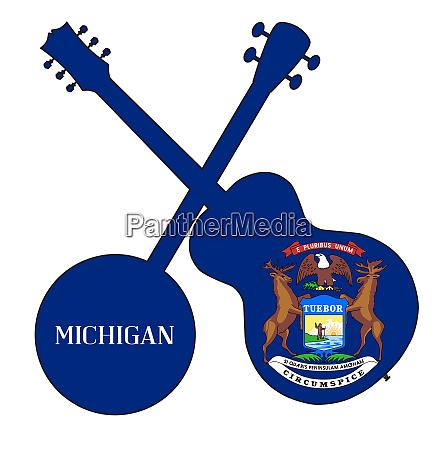 michigan state flag banjo and guitar
