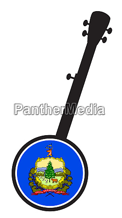 banjo silhouette with vermont state flag