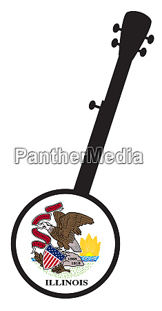 banjo silhouette with illinois state flag