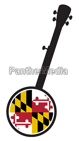 banjo silhouette with maryland state flag