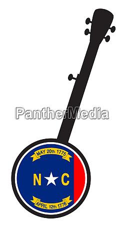 banjo silhouette with north carolina state
