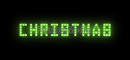 green neon glowing led christmas sign