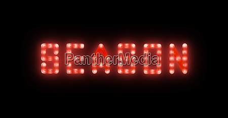 red neon glowing led season sign