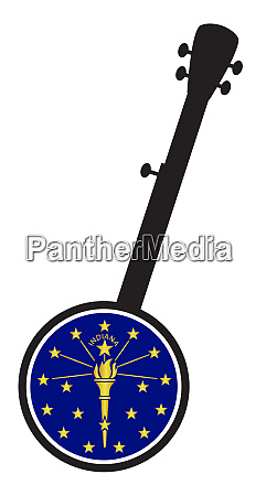 banjo, silhouette, with, indiana, state, flag - 27628913