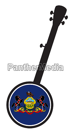banjo, silhouette, with, pennsylvania, state, flag - 27628914