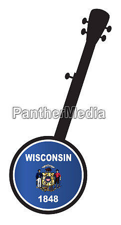banjo, silhouette, with, wisconsin, state, flag - 27628922