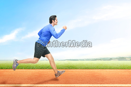 asian runner man running on the