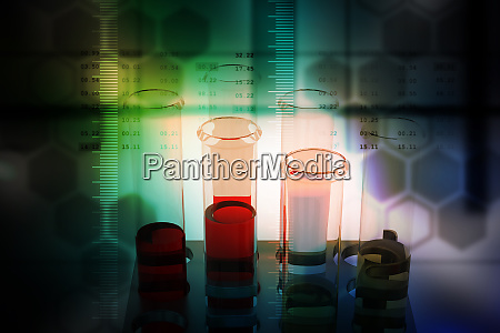 laboratory equipments with molecules