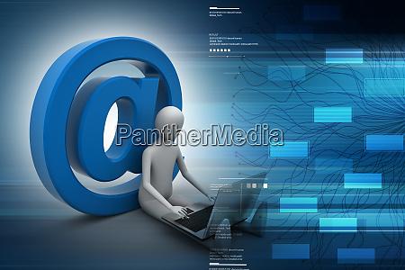 3d person e mail symbol