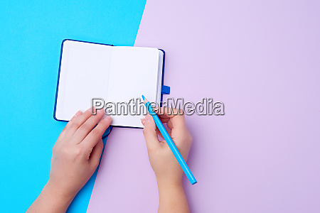 open notebook and wooden blue pencil
